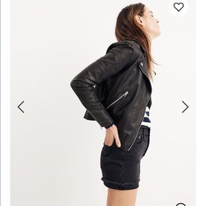 Madewell washed leather motorcycle jacket sz S